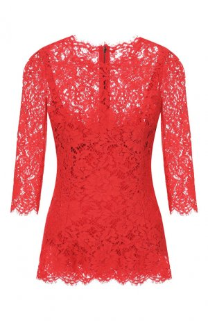 Кружевной топ Dolce & Gabbana. Цвет: красный