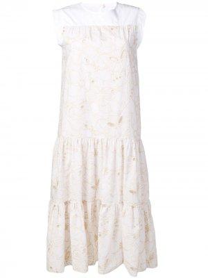 Ярусное летнее платье See by Chloé. Цвет: белый