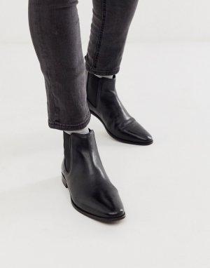 Черные кожаные ботинки челси WALK London alfie-Черный