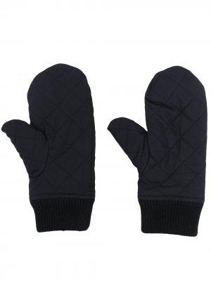 Стеганые перчатки из органического кашемира N.Peal. Цвет: синий