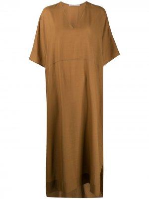 Длинное платье с короткими рукавами Agnona. Цвет: коричневый