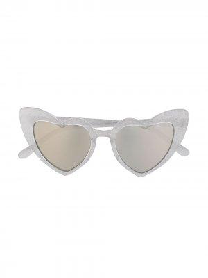 Солнцезащитные очки в оправе форме сердца Monnalisa. Цвет: серебристый