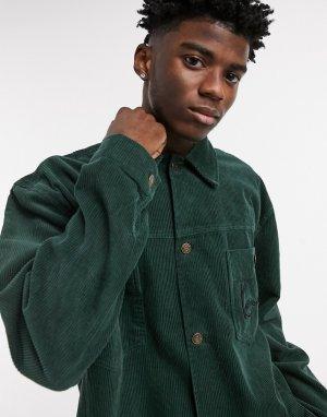 Зеленая вельветовая рубашка навыпуск -Зеленый Karl Kani