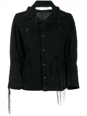 Джинсовая куртка с необработанным краем Diesel. Цвет: черный