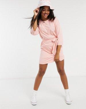 Розовое платье-футболка мини -Фиолетовый Monki