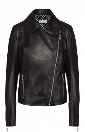 Кожаная куртка с косой молнией и отложным воротником Escada Sport. Цвет: черный
