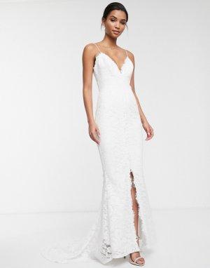 Кружевное свадебное платье на бретельках Angelina-Белый ASOS EDITION