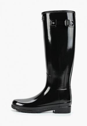 Резиновые сапоги Hunter ORIGINAL REFINED WIDE FIT BOOT. Цвет: черный
