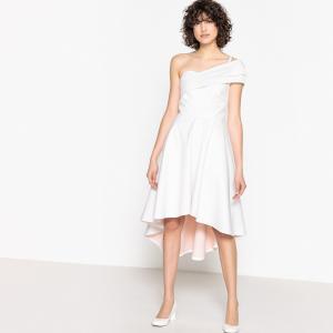 Платье свадебное с одним открытым плечом и бантом сзади LA REDOUTE COLLECTIONS. Цвет: слоновая кость
