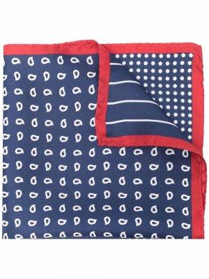 Шелковый платок с принтом пейсли Hackett. Цвет: синий