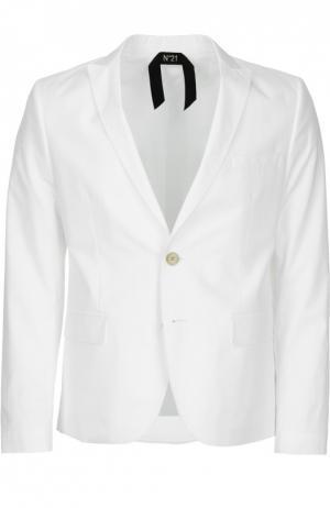 Хлопковый однобортный пиджак No. 21. Цвет: белый