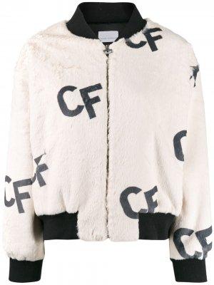 Куртка-бомбер с принтом CF Chiara Ferragni. Цвет: нейтральные цвета