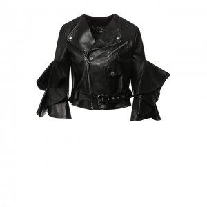 Кожаная куртка с оборками на рукавах Alexander McQueen. Цвет: чёрный