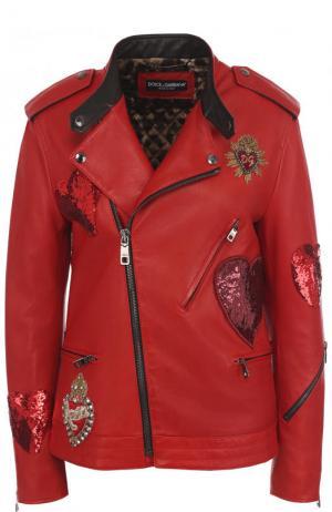 Кожаная куртка с косой молнией и контрастной отделкой Dolce & Gabbana. Цвет: красный