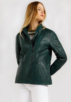 Куртка кожаная Finn Flare. Цвет: зеленый