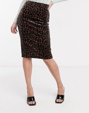 Юбка миди с леопардовым принтом -Мульти Ichi