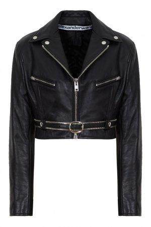 Укороченная кожаная куртка Alexander Wang.t. Цвет: черный
