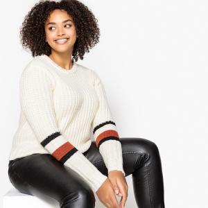 Пуловер с круглым вырезом из плотного трикотажа CASTALUNA. Цвет: экрю в полоску