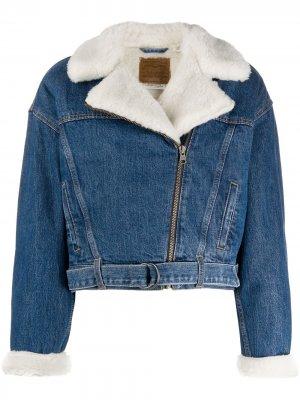 Levis куртка со вставками из овчины Levi's. Цвет: синий