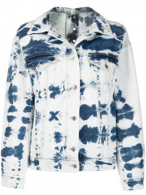 Джинсовая куртка с принтом тай-дай MSGM. Цвет: синий
