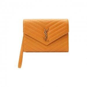 Кожаный футляр для документов Saint Laurent. Цвет: оранжевый