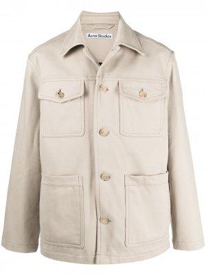 Куртка-рубашка Acne Studios. Цвет: нейтральные цвета