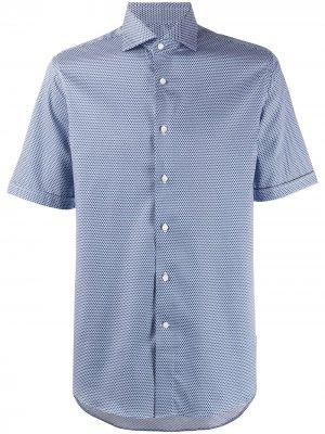 Рубашка с короткими рукавами и узором Canali. Цвет: синий