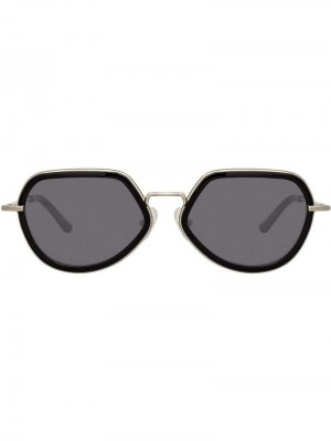Солнцезащитные очки в геометричной оправе Linda Farrow. Цвет: черный