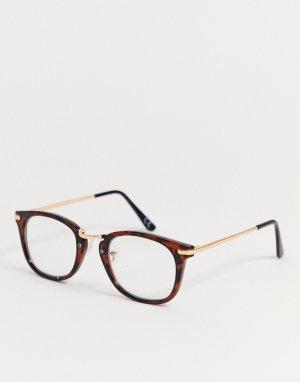 Квадратные очки в черепаховой оправе с прозрачными стеклами -Коричневый ASOS DESIGN