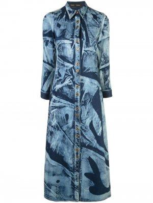 Джинсовое платье-рубашка Proenza Schouler. Цвет: синий