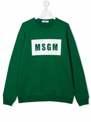 TEEN logo-print cotton sweatshirt MSGM Kids. Цвет: зеленый