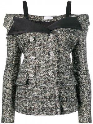 Твидовый пиджак со спущенными плечами Faith Connexion. Цвет: черный