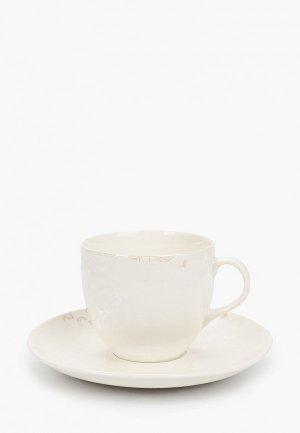 Чашка с блюдцем Esprado Blanco, блюдце, 220 мл. Цвет: белый