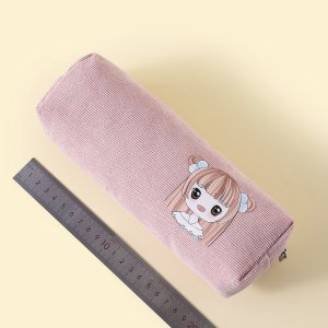 Сумка-карандаш с принтом девушки SHEIN. Цвет: розовые
