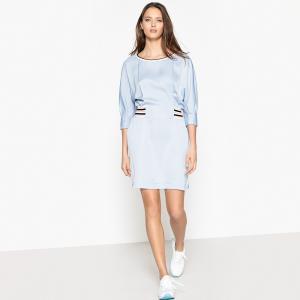 Платье спортивного покроя с блестящим эффектом и эластичным поясом LA REDOUTE COLLECTIONS. Цвет: небесно-голубой,розовый телесный