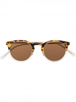 Солнцезащитные очки в круглой оправе черепаховой расцветки Garrett Leight. Цвет: коричневый