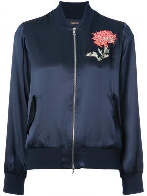 Куртка-бомбер с вышивкой Adam Lippes. Цвет: синий