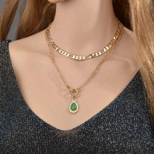 2шт Ожерелье с декором капля воды SHEIN. Цвет: золотистый