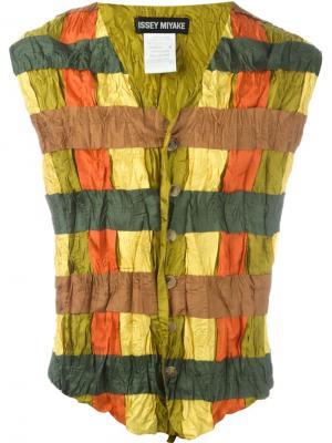 Жилет в клетку Issey Miyake Vintage. Цвет: зелёный