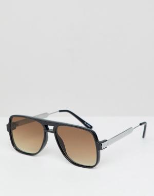 Черные солнцезащитные очки в квадратной оправе с коричневыми стеклами Spitfire. Цвет: черный