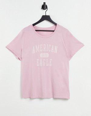 Розовая классическая футболка -Фиолетовый цвет American Eagle