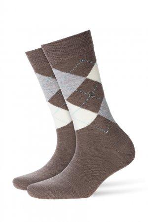 Коричневые носки с ромбами Burlington. Цвет: коричневый