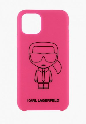 Чехол для iPhone Karl Lagerfeld 11 Pro Liquid silicone Ikonik outlines Hard Pink/Black. Цвет: розовый
