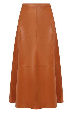 Кожаная юбка Loro Piana. Цвет: коричневый