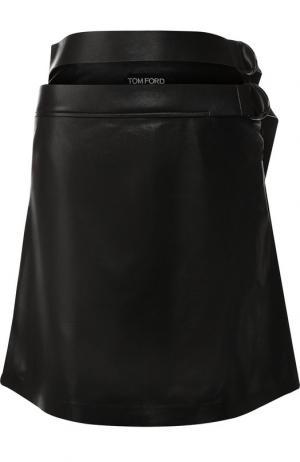 Кожаная мини-юбка с поясом Tom Ford. Цвет: черный
