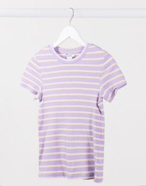 Разноцветная футболка из органического хлопка в полоску -Мульти Monki