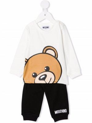 Спортивный костюм с логотипом Moschino Kids. Цвет: белый