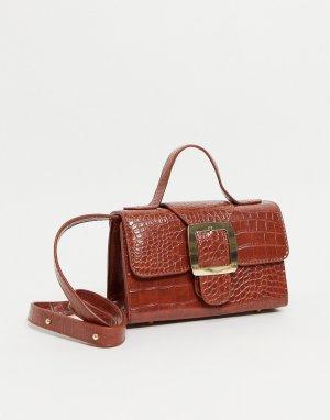 Лакированная коричневая сумочка с пряжкой и отделкой под крокодиловую кожу Ego x Molly Mae-Коричневый цвет