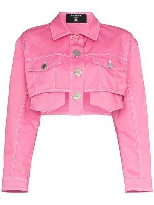 Укороченная джинсовая куртка Balmain. Цвет: розовый
