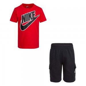 Futura Tee Cargo Shorts Set Nike. Цвет: черно-красный